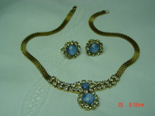 Gold Necklace & Screwback Earrings with Blue Moonstones & Clear Rhinestones