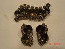 Smoky Rhinestone Brooch & Clip Earrings
