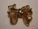 Crown Trifari Gold Silver Rhinestone Bow Brooch Pin
