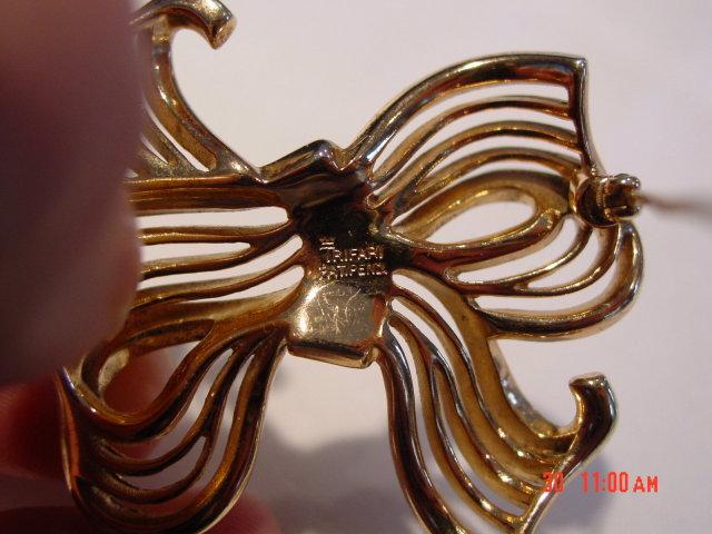 Crown Trifari Gold Silver Rhinestone Bow Brooch Pin
