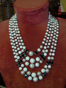 Vintage Japan 5 Strand Imitation Pearl & Black AB Rhinestone Necklace