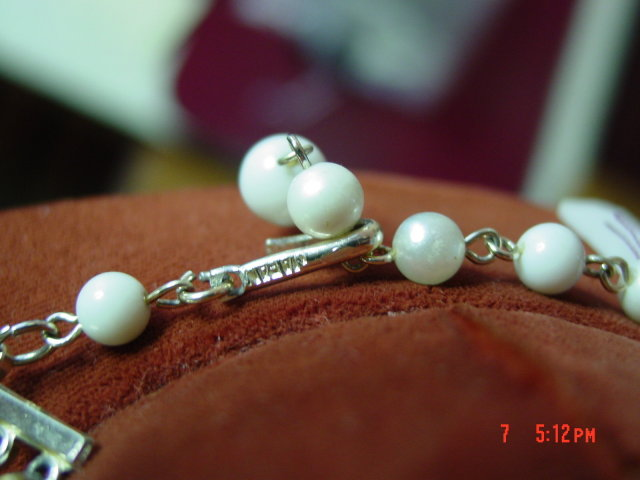 Vintage Japan 5 Strand Imitation Pearl & Black AB Rhinestone Necklace