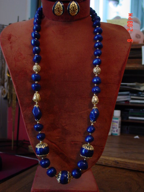 Trifari Navy & Gold Bead Necklace & Navy Enamel Clip Earrings Set