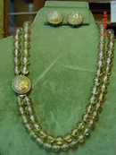 Clear Pale Yellow Beaded Necklace & Clip Earrings