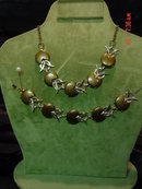 Chocolate Brown Thermoset Lucite Moonglow Choker Necklace & Bracelet