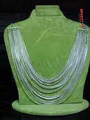 Vintage Western Germany 16 Strand Aluminum Chain Necklace