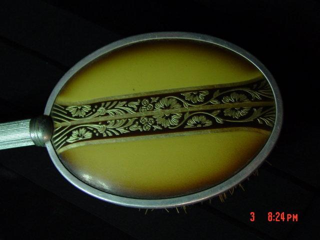 Vintage Art Deco Aluminum & Celluloid Hair Brush