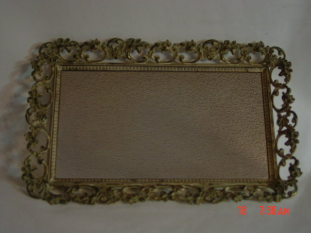 Vintage Ivory Washed Gold Repousse Mirror Vanity Perfume Tray