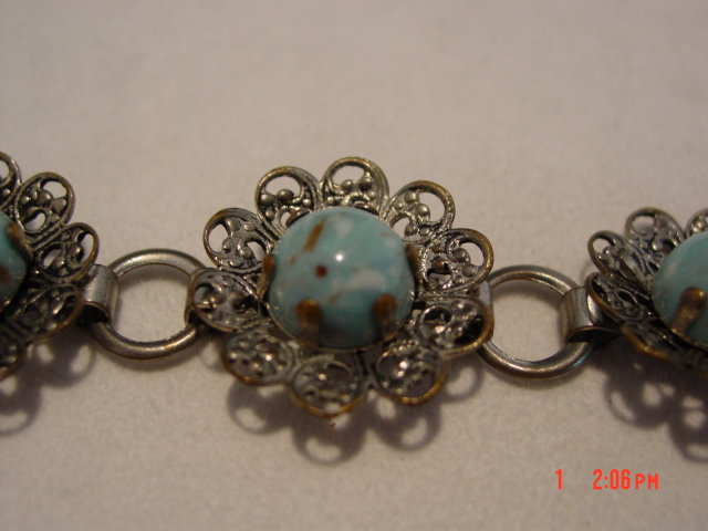 Vintage Silvertone Filigree Flower Bracelet with Pale Turquoise Colored Beads