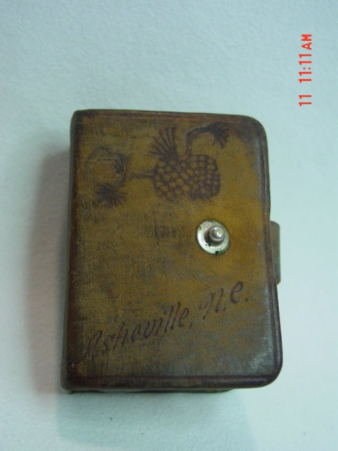 Antique Miniature 343 Cadets Ashville, NC, Souvenir Playing Cards in Leather Case