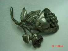 Old Pot Metal Flower Brooch