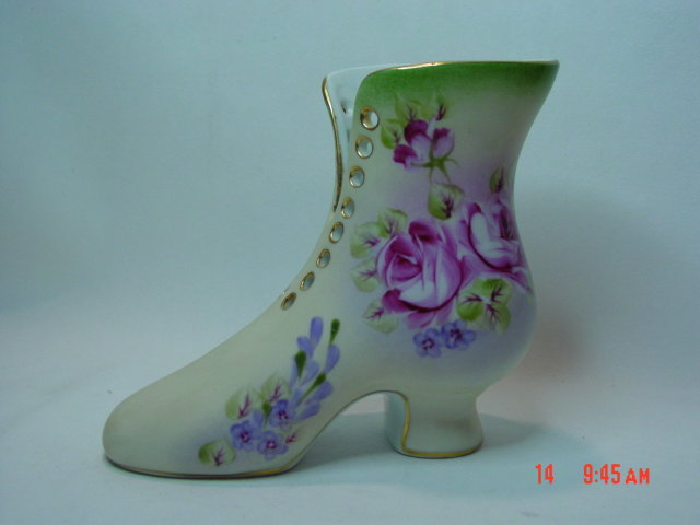 Large Hand Painted Porcelain Ladies Boot