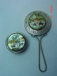Vintage Asian Silver Hand Painted Mother of Pearl Inlay Small Hand Mirror & Mirror Pill Box