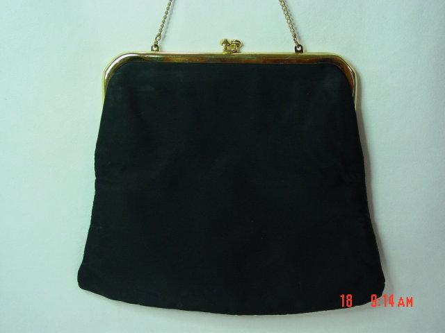 JR Black Satin Evening Bag Clutch Purse