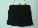JR Black Satin Evening Bag Clutch Purse