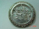 Round Egyptian Silver Chariot Hunting Scene Brooch Pin