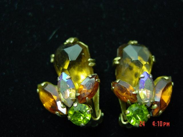 Weiss Rhinestone Clip Earrings - Fall Colors!