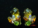Weiss Rhinestone Clip Earrings - Fall Colors!