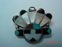 Sterling Zuni Indian Chief Pin