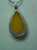 Tear Drop Shaped Honey Amber Sterling Pendant