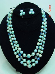 Three Strand Aqua Beaded Japan Necklace & Clip Earrings