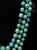 Three Strand Aqua Beaded Japan Necklace & Clip Earrings
