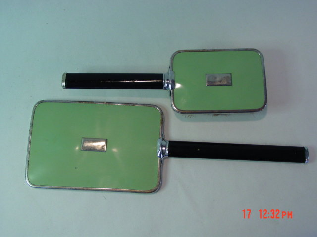 Vintage Green Art Deco Hair Brush & Hand Mirror Vanity Set