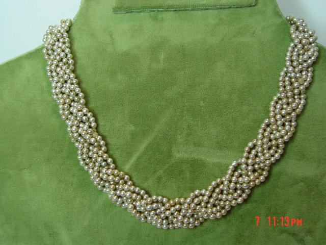Vintage Braided Pearl Colored Seed Bead Choker Necklace