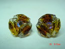 Vintage Vogue Rootbeer & AB Crystal Bead Button Clip Earrings