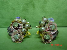 Vintage Robert Faux Pearl Enamel Rose Clip Earrings