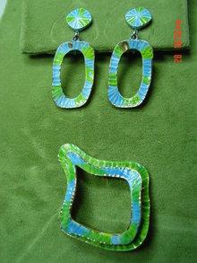 Vintage '60's Blue & Green Enamel Clip Earrings & Brooch Pin Signed ART