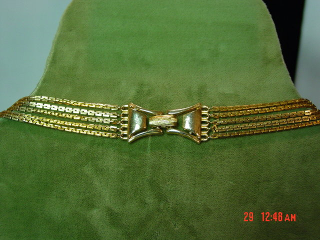 Vintage Hong Kong Goldtone 5 Strand Chain Necklace