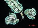 Vintage Lisner Light Blue Plastic Flower Bracelet & Clip Earrings