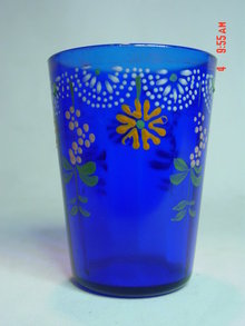 RARE Antique Victorian Cobalt Blue Enamel Painted Lemonade or Water Glass Tumbler