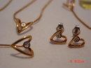 Eva Saint Denise Diamond Necklace, Bracelet, Stick Pin, Pierced Earrings Set
