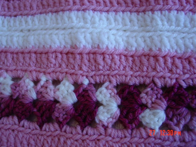 Burgundy Pink & White Crocheted Afghan Throw