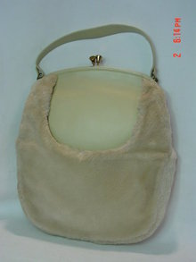 Vintage 1950's Cream Faux Fur & Vinyl Purse Handbag by Mel-Ton