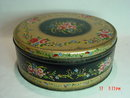Vintage Lithograph Toleware Floral Round Tin Container