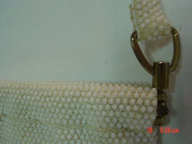 Vintage White Beaded Laura USA Hong Kong Purse