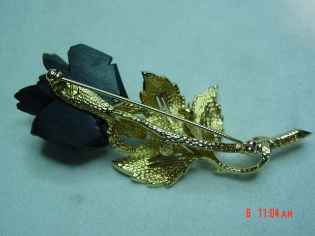Gold Boucher Black Rose Brooch Pin