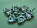 Coro Pink Moonglow Thermoset Lucite Leaves Pin Brooch