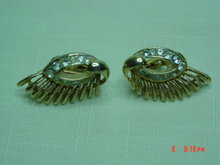 Coro Goldtone & Clear Rhinestone Clip Earrings