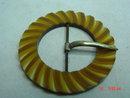 Carved Butterscotch Bakelite Belt Buckle