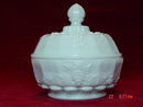 Westmoreland Paneled Grape Milk Glass Puff Bowl Jar Box