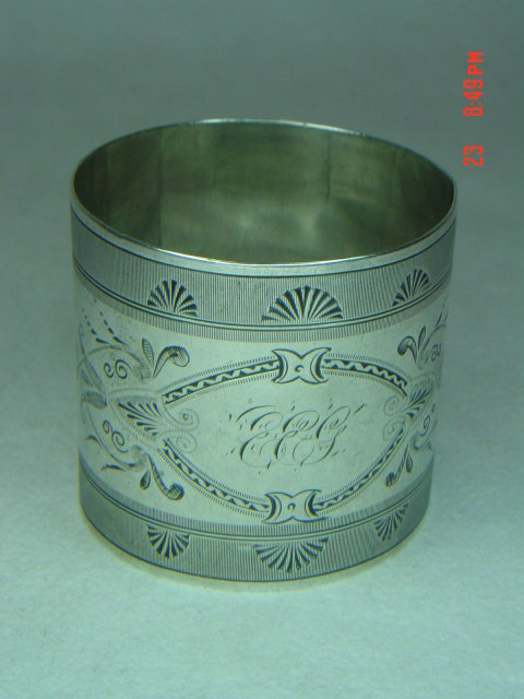 Ornate Engraved Silverplate Napkin Ring
