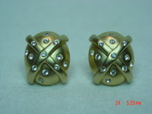 Erwin Pearl Goldtone Clip Earrings