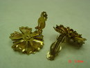 Gold Mesh Flower Clip 10K GP Earrings with Faux Pearl Center Signed BED