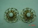 Kramer Goldtone White Enamel Clip Earrings