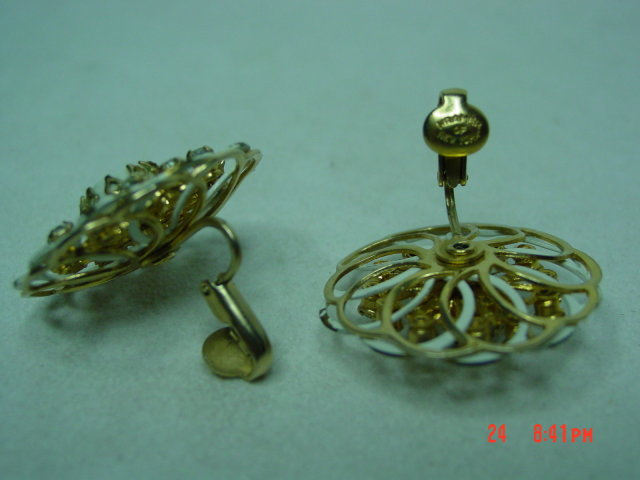 Kramer Goldtone White Enamel Clip Earrings