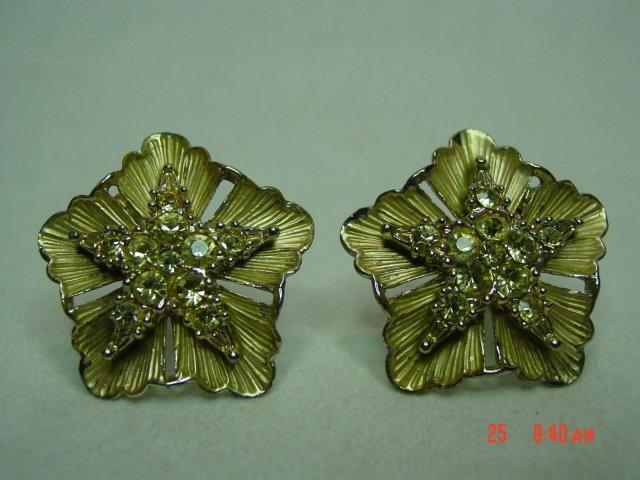 BSK Goldtone & Yellow Rhinestone Clip Earrings